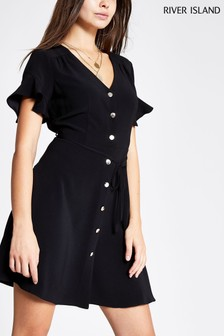 River Island Black Lana Linen Drawstring Shirt Dress