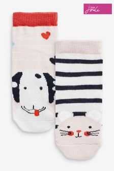Joules White Neat Feet Character Socks Two Pack
