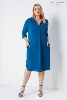 Live Unlimited Navy Petrol French Crepe Collared Dress