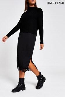River Island Black Ashley Hybrid Jumper Dress
