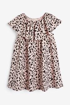 Ruffle Sleeve Printed Jersey Dress (3mths-7yrs)