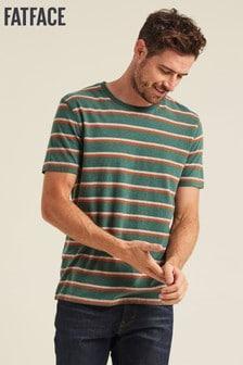 FatFace Green Duo Stripe Crew T-Shirt