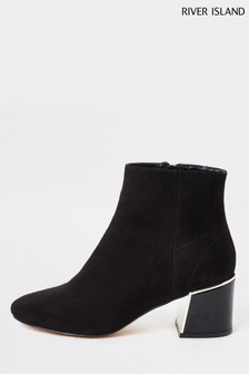 River Island Black Esme Polished Heel Detail Boots