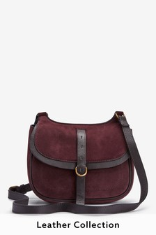 Leather And Suede Mix Saddle Bag