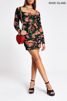 River Island Floral Going Out Raviolli Dress