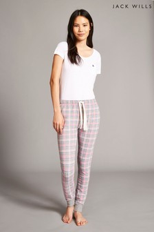 Jack Wills Pink Leighton Printed Check Pants