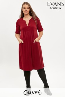 Evans Curve Red V-Neck Pocket Dress