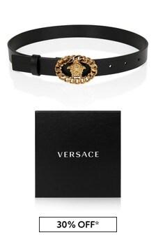 Versace Kids Black Leather Belt