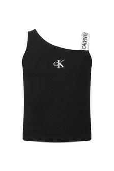 Calvin Klein Jeans Girls Black Cotton Tank Top