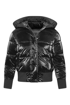 Girls Black Padded Jacket With Hood