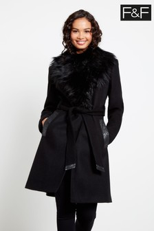 F&F Black Faux Fur Collar Wrap Coat