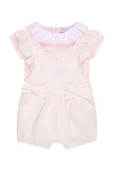 Patachou Baby Girls Pink Cotton Romper
