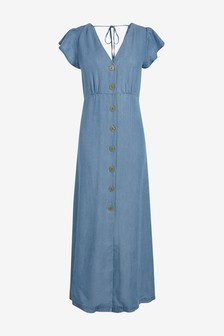TENCEL™ Button Through Maxi Dress