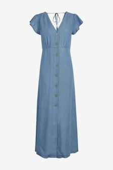 TENCEL™ Button Through Maxi Dress