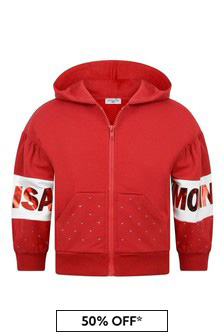 Girls Red Cotton Logo Zip Up Top