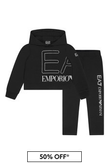 EA7 Emporio Armani Girls Black Cotton Tracksuit