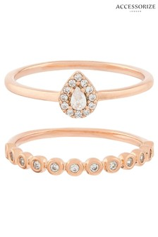 Accessorize Rose Gold Z Ring 2X Sparkle Ring Set