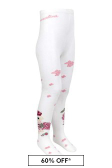 Girls Ivory/Pink Cotton Rose Tights