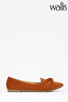 Wallis Barcelona Tan Cognac Knot Tie Flat Shoes
