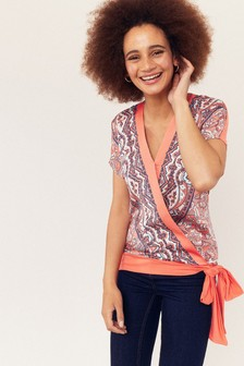 Oasis Orange Paisley Side Tie Top