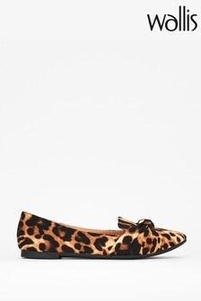 Wallis Barcelona Leopard Knot Tie Flat Shoes