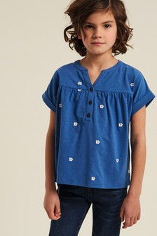 FatFace Blue Daisy Embroidered Popover T-Shirt