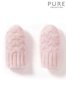 Pure Collection Pink Cashmere Baby Cable Mitt