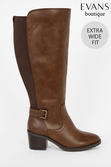 Evans Extra Wide Fit Brown Knee High Boots
