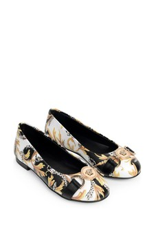 Girls White, Black & Gold Ballerinas