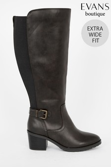Evans Extra Wide Fit Black Knee High Boots