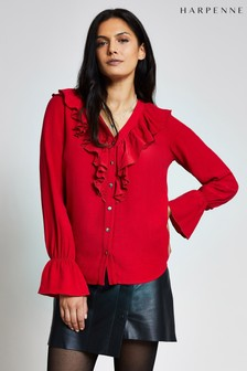 Harpenne Red Ruffle Front Blouse