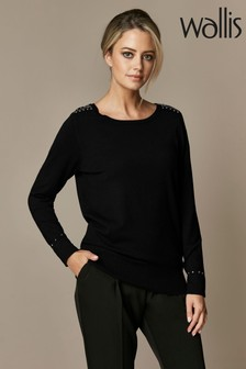Wallis Petite Black Stud Zip Crew Neck Jumper