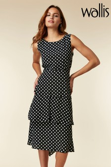 Wallis Black Spot Tiered Dress