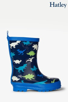 Hatley Blue Dino Herd Shiny Rain Boots