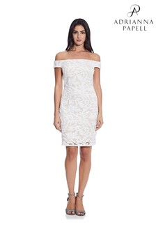 Adrianna Papell White Sequin Off The Shoulder Dress