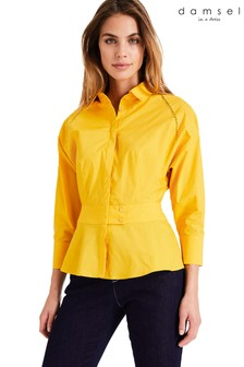 Damsel In A Dress Yellow Pixie Broderie Detail Shirt