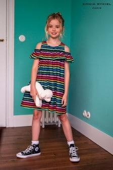 Sonia Rykiel Black Multicoloured Stripe Dress