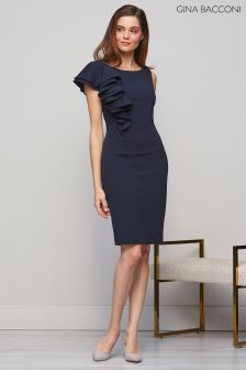 Gina Bacconi Navy Rita Asymmetric Frill Dress b6a453e8c
