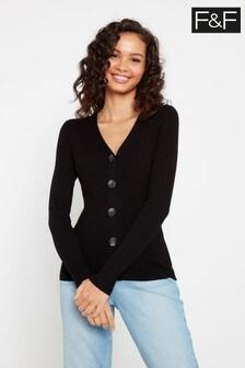F&F Black Rib Button Through Cardigan