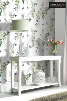 Arthouse White Mitzu Floral Birds Wallpaper