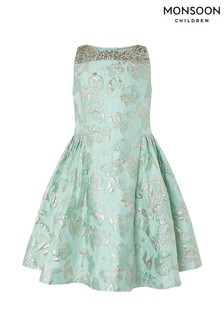 Monsoon Duck Egg Chateaux Jacquard Dress