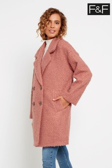 F&F Rose Bouclé Blush Snit Coat