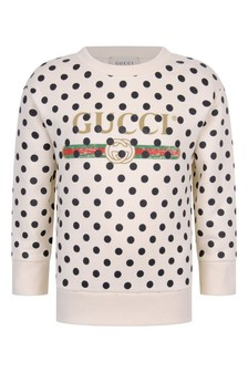 Kid White Cotton Polka Dots Vintage Logo Sweatshirt