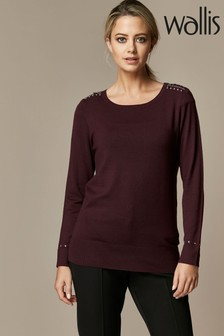 Wallis Petite Berry Stud Zip Crew Neck Jumper