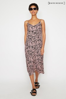 Warehouse Pink Zebra Print Midi Cami Dress