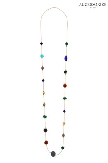 Accessorize Green Ethereal Beaded Rope Necklace