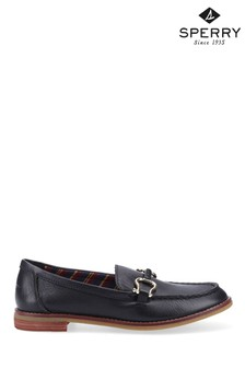 Sperry Black Seaport Penny Plushwave Shackle Loafers