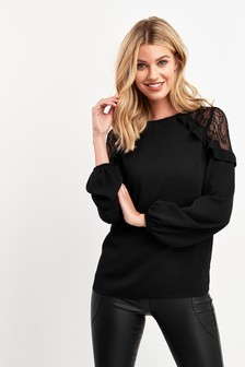 Lace Insert Ruffle Top
