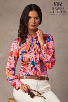 Hawes & Curtis Pink Jewels Print Fitted Satin Blouse