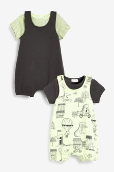 2 Pack Organic Cotton Dino Dungarees And Bodysuits Set (0mths-3yrs)